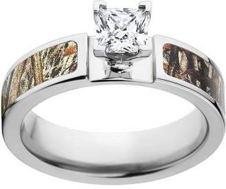 Mossy Oak Duckblind Camo 1 Carat T.G.W. Princess CZ in 14kt White Gold Prong Setting Cobalt Engagement Ring with Polished Edges and Deluxe Comfort Fit