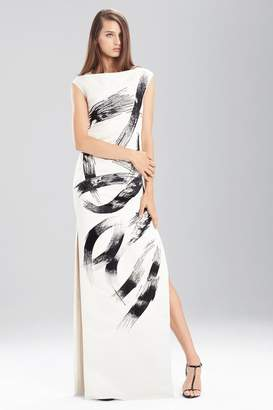 Josie Natori Duchess Satin Boatneck Dress