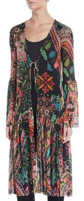 Fuzzi Cross-Stitch Collage Bell-Sleeve Long Cardigan