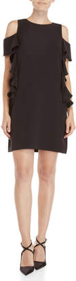 Vince Camuto Black Cold Shoulder Ruffled Shift Dress