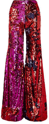 Halpern - Sequined Tulle Flared Pants - Fuchsia