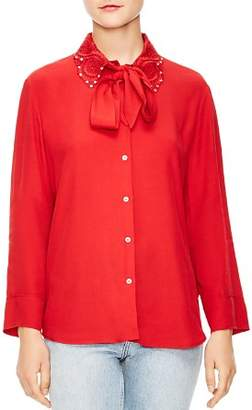 Sandro Ines Embellished Collar Button-Down Shirt