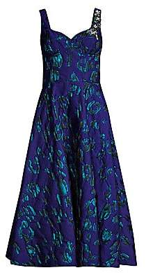 Jason Wu Collection Women's Satin Jacquard Embroidery Fit-&-Flare Dress
