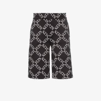 Valentino logo check print track shorts
