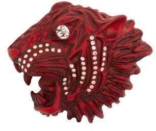 Gucci Tiger Head Crystal Embellished Brooch - Womens - Red