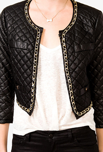 Forever 21 Chain Trimmed Faux Leather Jacket