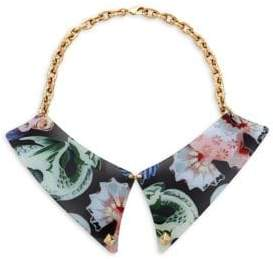 Valentino Goldtone Floral Collar Bib Necklace