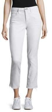 Amo Babe High-Rise Raw Hem Straight-Leg Jeans