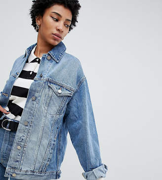 86f5dabfb49 Asos Tall DESIGN Tall denim girlfriend jacket in midwash blue
