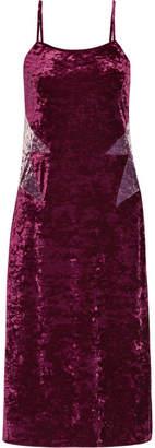 Anna Sui Starburst Crushed-velvet Slip Dress - Purple