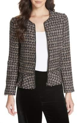 Rebecca Taylor Zip Front Tweed Peplum Jacket