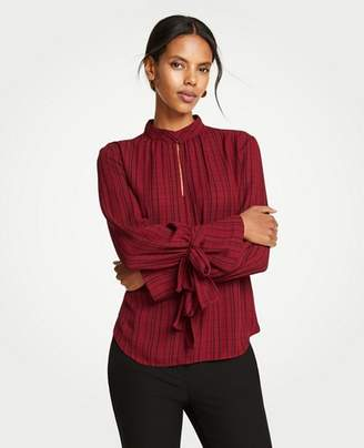 Ann Taylor Plaid Bow Cuff Blouse