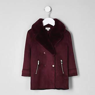 River Island Mini girls burgundy faux fur suede coat