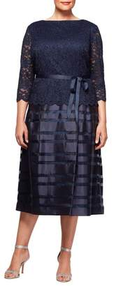 Alex Evenings Mock Two-Piece A-Line Midi Dress