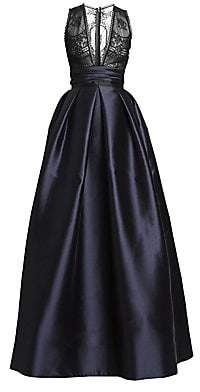 ZUHAIR MURAD Women's Japanese Garden Satin V-Neck Ball Gown