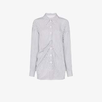Tibi gathered striped shirt