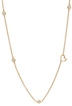 Crislu Women's Rose Gold Plated 925 Sterling Silver Round Clear Cubic Zirconia Heart Accent DBY Necklace of Length 45.72-45.73cm