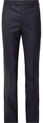 Calvin Klein Navy Slim-Fit Striped Puppytooth Wool Suit Trousers