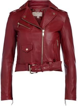 Michael Kors Red Leather Biker Jacket