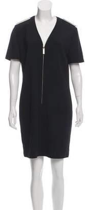 Burberry Short Sleeve Zipper-Accented Mini Dress