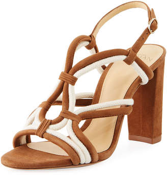 Alexandre Birman Giovanna Loop Strappy Suede Block-Heel Sandals