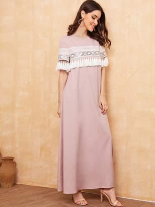 Shein Tassel Trim Contrast Sequin Lace Insert Belted Dress