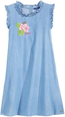 GUESS Embroidered Cotton Denim Dress, Big Girls