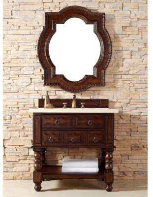 James Martin Furniture Castilian 36-Inch Aged Cognac Wood Single Vanity with Galala Beige Marble Stone Top