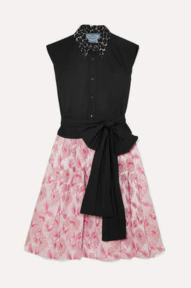 Prada Cotton-poplin And Metallic Brocade Mini Dress - Pink