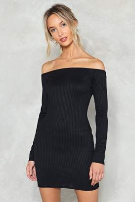 Nasty Gal On and Off Ribbed Off-the-Shoulder Dress