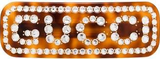 Gucci tortoiseshell-effect crystal logo hair clip