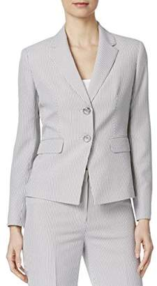 Kasper Women's Petite Size 2 Button Notch Collar Pinstripe Seersucker Jacket
