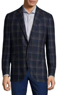 Luciano Barbera Plaid Wool Sportcoat
