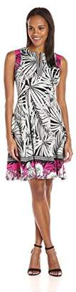 Maggy London Women's Printed Scuba Fit and Flare