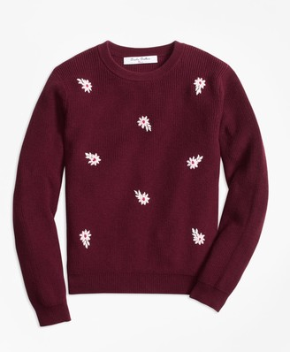 Brooks Brothers Girls Cotton Floral Embroidered Crewneck Sweater