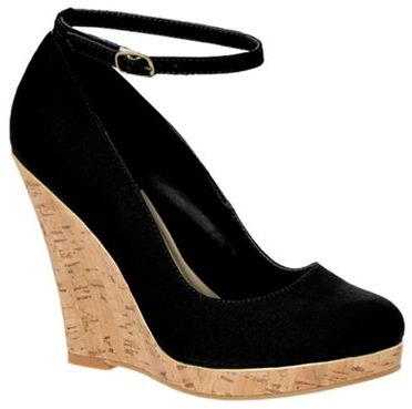 Black cork-look wedge heeled shoes