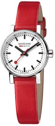 Mondaine Women's 'SBB' Swiss Quartz Stainless Steel and Leather Casual Watch, Color:Red (Model: MSE.26110.LC)