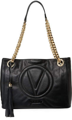 Mario Valentino Valentino By Luisa 2 Sauvage Leather Tassel Shoulder Tote Bag