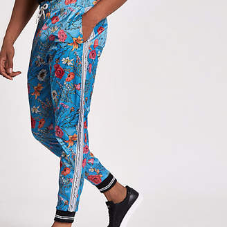 River Island Jaded blue floral satin joggers