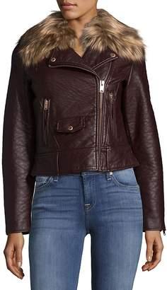 Andrew Marc Women's Faux Fur-Trimmed Moto Jacket