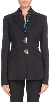 Altuzarra Tuttle Half-Moon Clasp Notched-Collar Fitted Wool Blazer