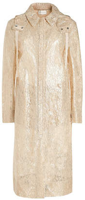 Christopher Kane Metallic Lace Coat with Hood