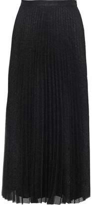 Anine Bing Lovisa Pleated Metallic Georgette Midi Skirt