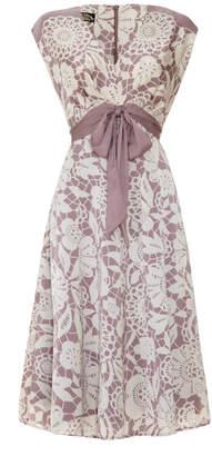 Sweet Pea Nancy Mac Bow Detail Dress In Lace Stencil Print Crepe