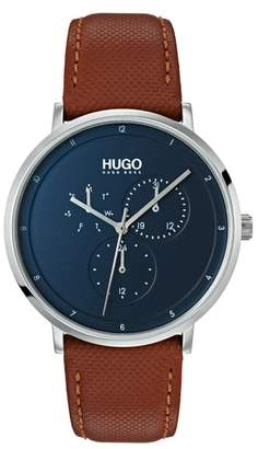 HUGO Ultra Slim Leather Strap Watch, 40mm