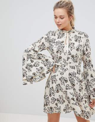 Glamorous High Neck Floral Print Dress With Flare Sleeve