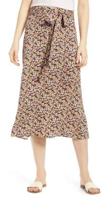 Love, Fire Tie Waist Floral Print Midi Skirt