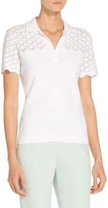 St. John Eyelet Knit Polo Top