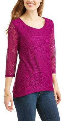White Stag Women's 3/4 Sleeve Embellished Front Lace Tunic