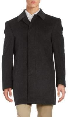 Lauren Ralph Lauren Wool-Blend Fly-Front Topcoat